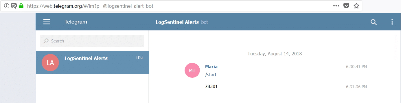 Real-time notification visualisation of LogSentinel at Telegram