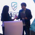 Bozhidar accepting best newcomer award at CESA